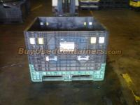 Used 40x48x34 Plastic Bulk Container - Front View with drop door up