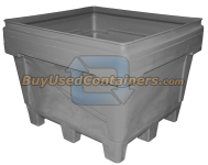 48x44x39 Fixed Wall Bulk Container - 4-Way Entry - Outside View