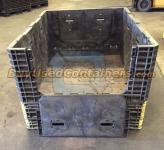 70x48x34 Plastic Collapsible Bulk Container - End View w/drop door down