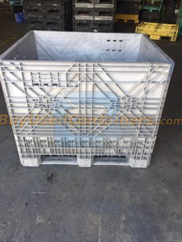 Used 40x48x39 Plastic Collapsible Bulk Container W No Drop